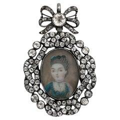 Rare Antique Georgian 18th Century French Enamel Miniature Portrait Paste Brooch