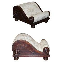Rare Antique Georgian circa 1800 Footstool with Angel Cherub Upholstery Fabric