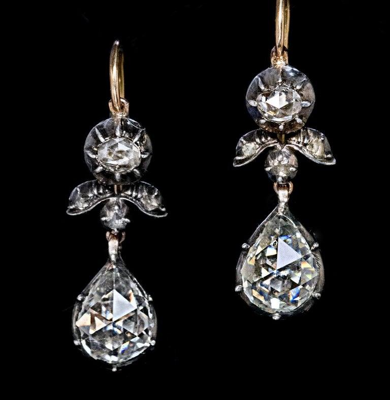 Women's Rare Antique Georgian Era Rose Cut Diamond Earrings For Sale