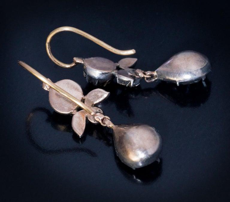 Rare Antique Georgian Era Rose Cut Diamond Earrings For Sale 1