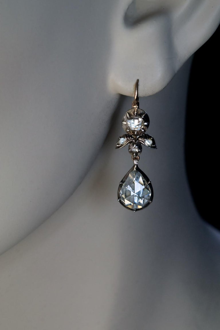 Rare Antique Georgian Era Rose Cut Diamond Earrings For Sale 2
