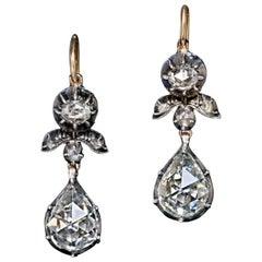 Rare Antique Georgian Era Rose Cut Diamond Earrings