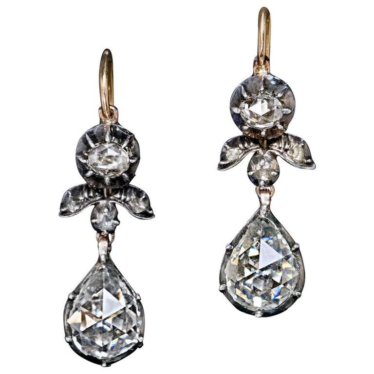 Rare Antique Georgian Era Rose Cut Diamond Earrings For Sale