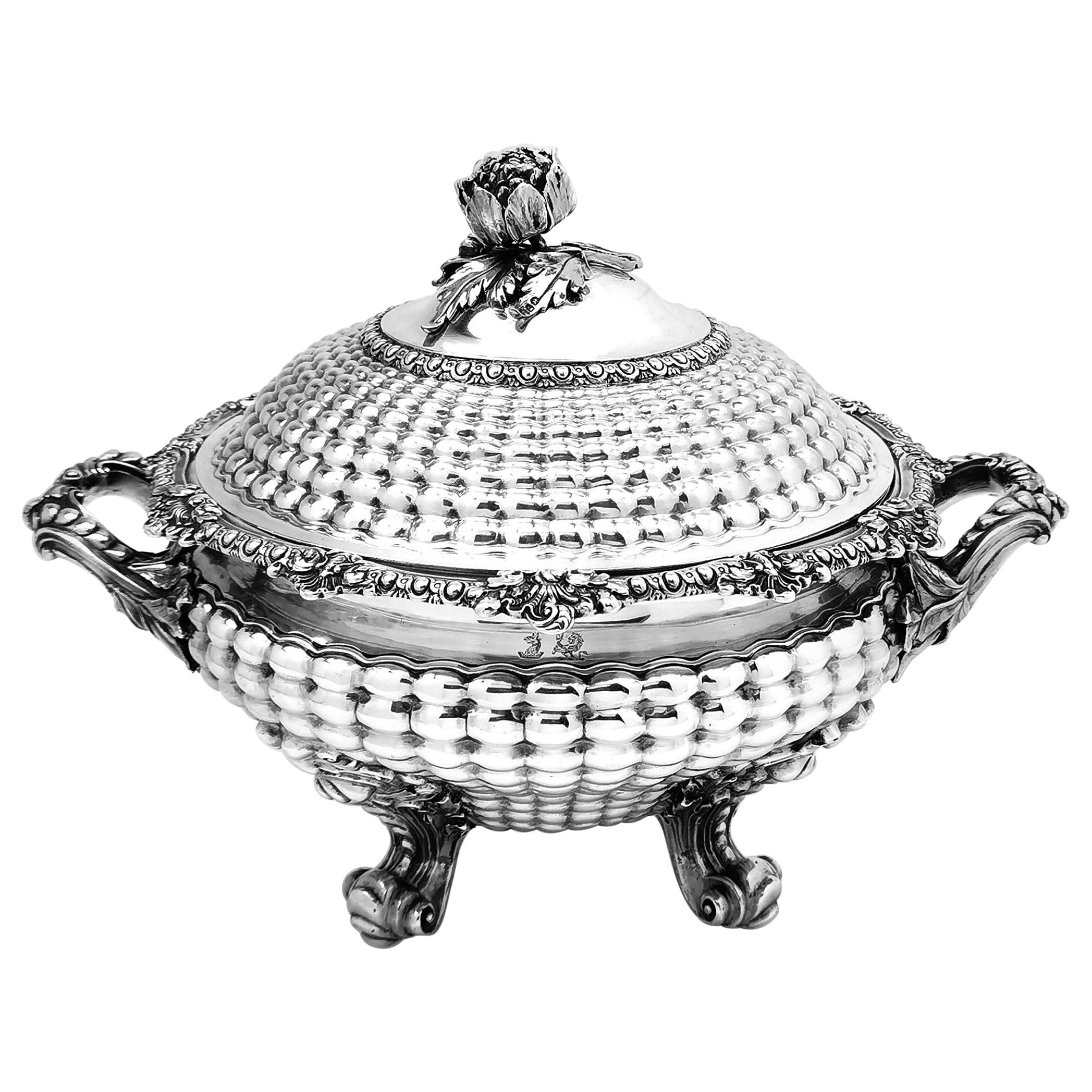 Rare Antique Georgian Sterling Silver Soup Tureen Quilted Pattern, 1827