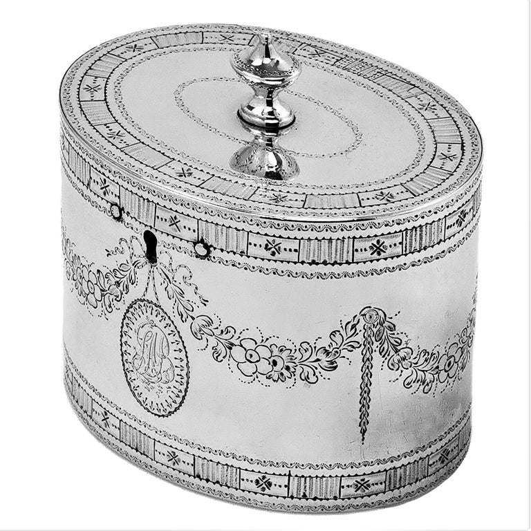 English Rare Antique Georgian Sterling Silver Tea Caddy Box 1780 Two Compartment For Sale