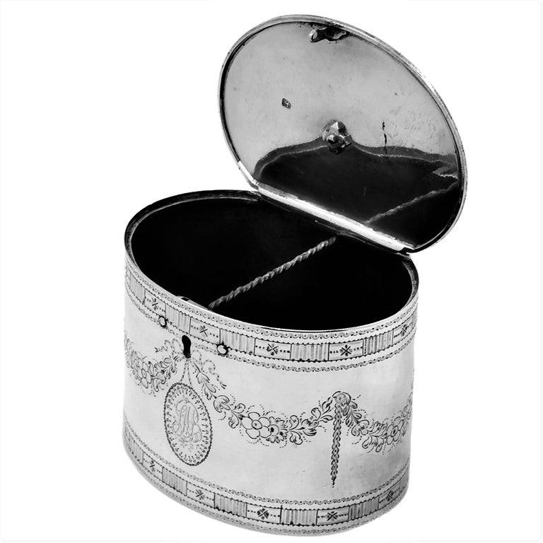 Rare Antique Georgian Sterling Silver Tea Caddy Box 1780 Two Compartment For Sale 1