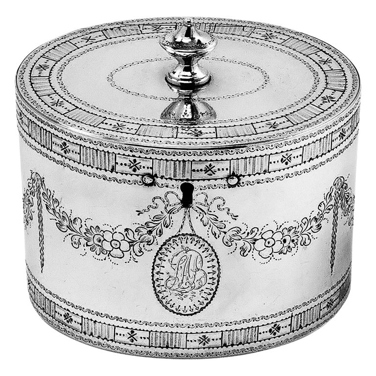 Rare Antique Georgian Sterling Silver Tea Caddy Box 1780 Two Compartment For Sale