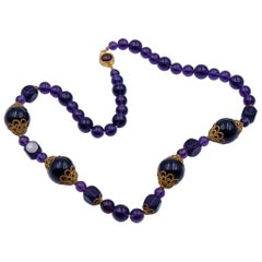 Rare Antique Glass Amethyst Beads Necklace 1930's