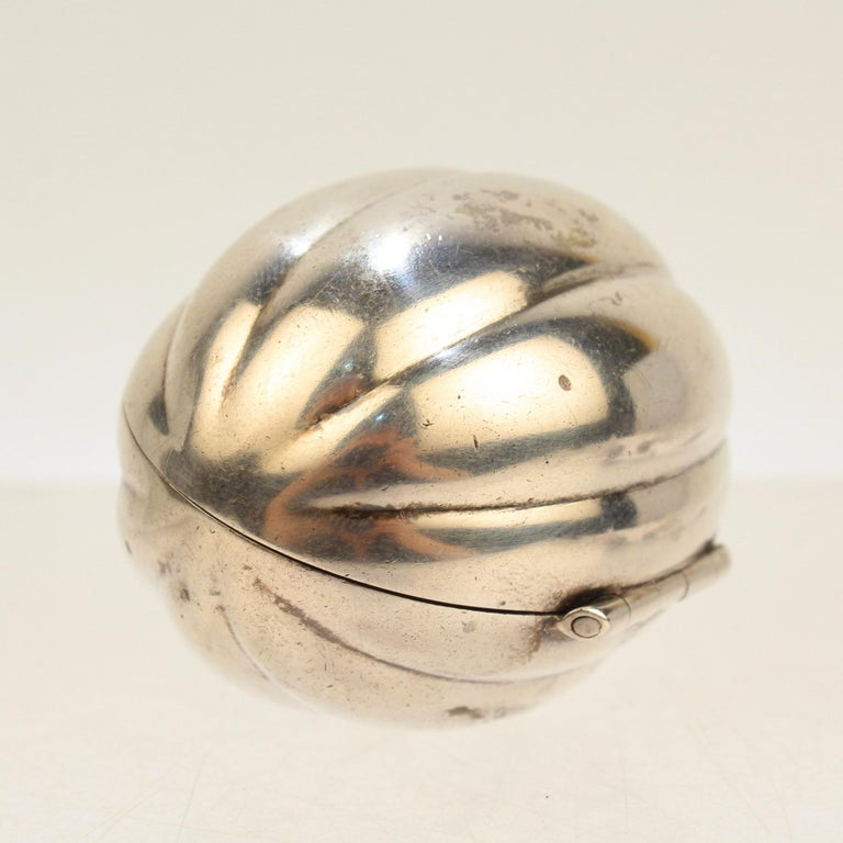 Rare Antique Gorham Sterling Silver Melon Figural Nutmeg Grater In Good Condition For Sale In Philadelphia, PA