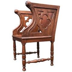 Rare Antique Gothic Revival Oak Armchair Chair w Female Sculptures in Armrests