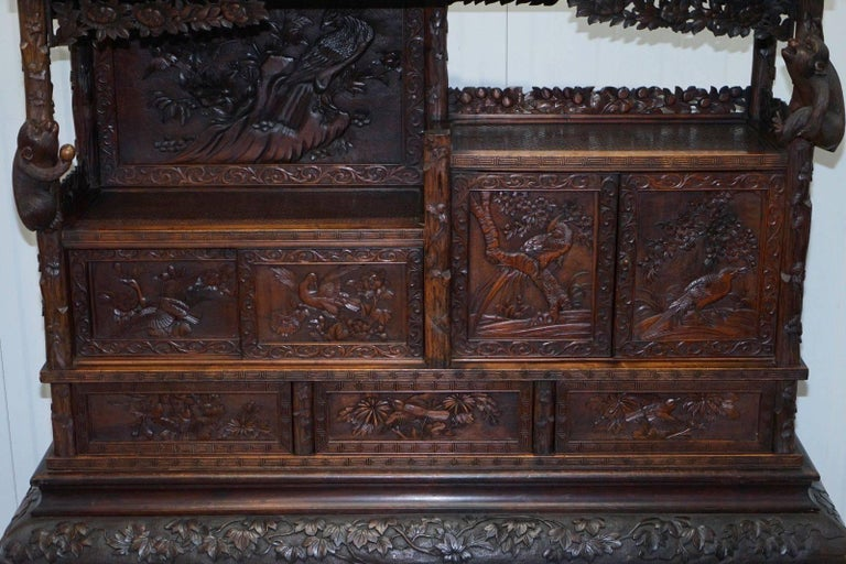 Chinese Export Rare Antique Hand-Carved Chinese Cabinet with Monkeys Sideboard Bookcase Drawers For Sale