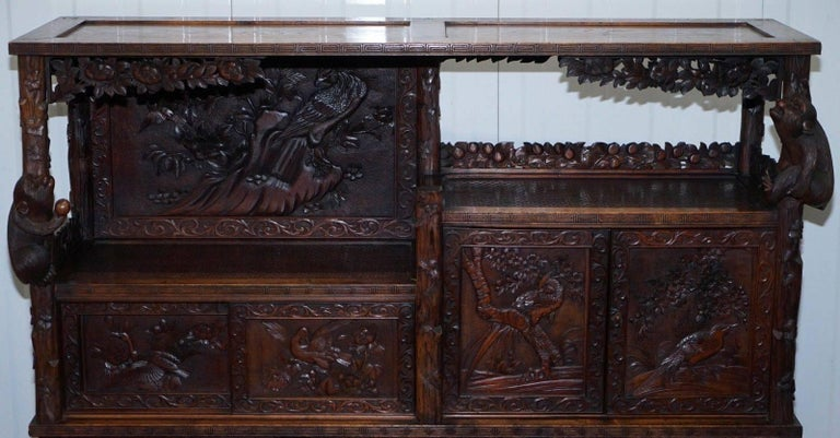 Rare Antique Hand-Carved Chinese Cabinet with Monkeys Sideboard Bookcase Drawers In Good Condition For Sale In London, GB