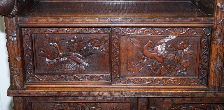 Teak Rare Antique Hand-Carved Chinese Cabinet with Monkeys Sideboard Bookcase Drawers For Sale
