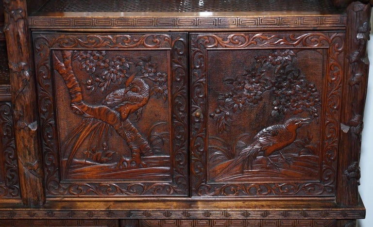Rare Antique Hand-Carved Chinese Cabinet with Monkeys Sideboard Bookcase Drawers For Sale 1