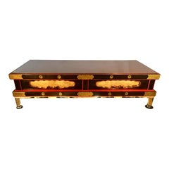 Rare Antique Japanese Coffee Table with Rouge Marble Top & Lucite Legs
