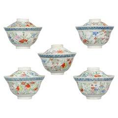 Rare Antique Japanese Meiji Period Set of Tea Bowls Porcelain Straits