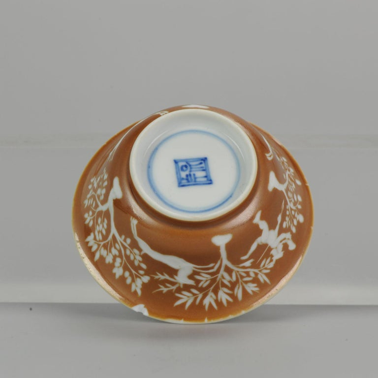 Rare Antique Kangxi Period Chinese Porcelain Cup Saucer Hunting Scene For Sale 8