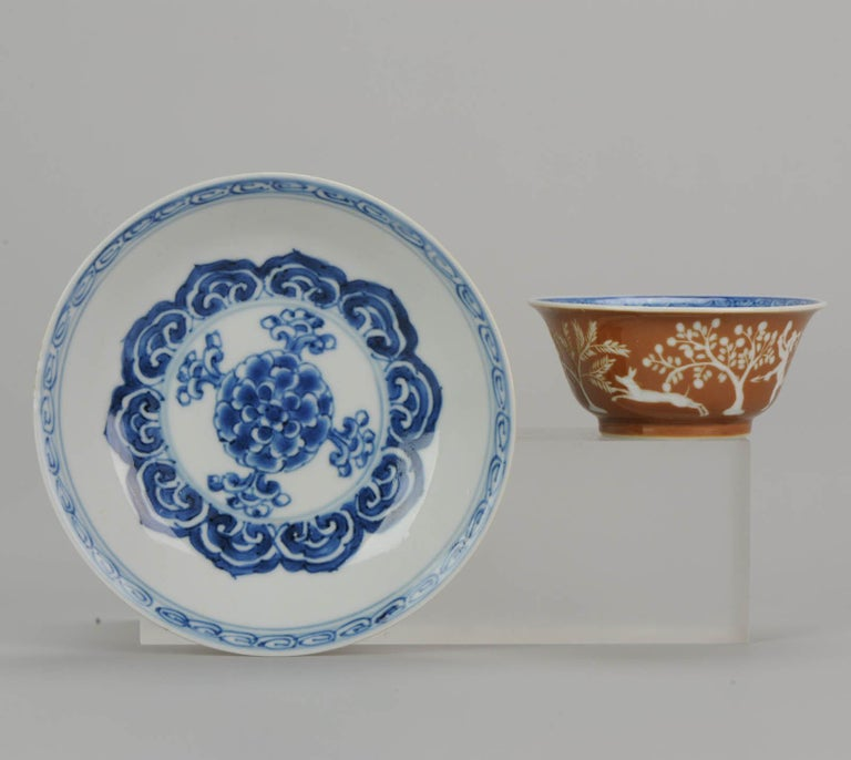 A very nicely decorated cup and saucer. Kangxi period Chinese porcelain dish and cup, with a stunning scene of a hunter and his dogs chasing a deer. Absolutely amazing.