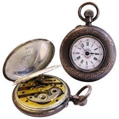 Rare Antique Lady Racine 0.935 Silver Pocket Watch