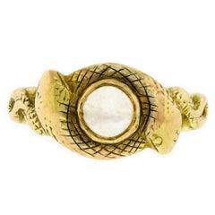 Seltener Antiker Mondstein Schlangen 14 Karat Gelbgold Ring