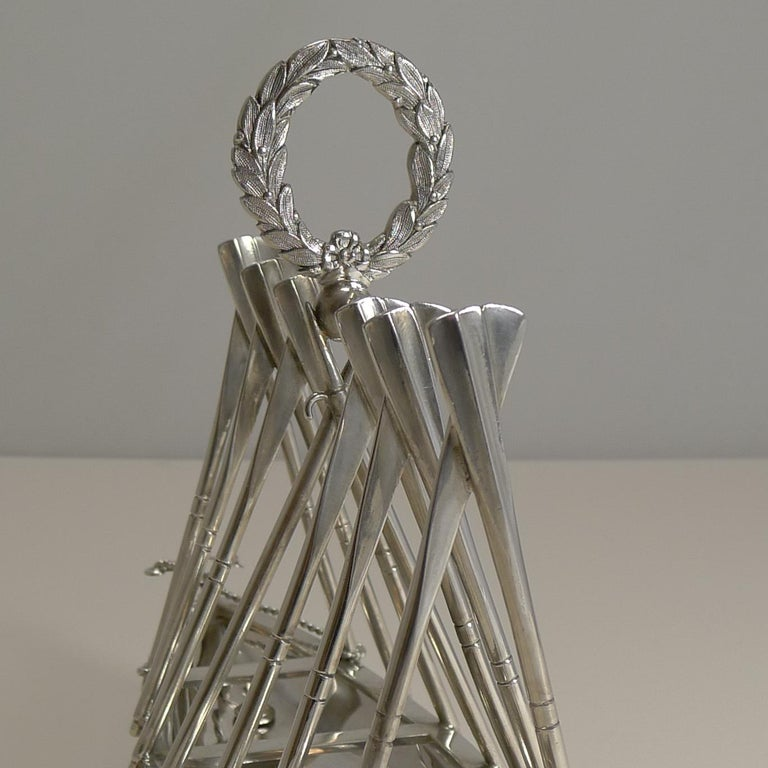 Late Victorian Rare Antique Novelty Toast Rack, Rowing Gig by Benetfink, London, circa 1880 For Sale