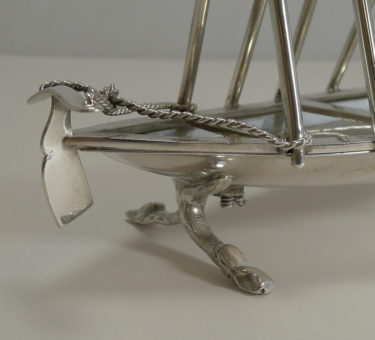 English Rare Antique Novelty Toast Rack, Rowing Gig by Benetfink, London, circa 1880 For Sale