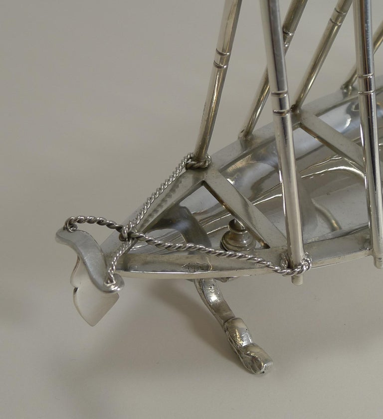 Rare Antique Novelty Toast Rack, Rowing Gig by Benetfink, London, circa 1880 In Good Condition For Sale In London, GB