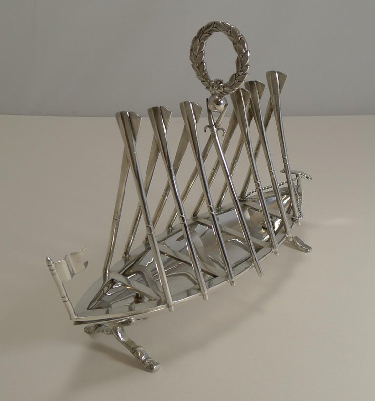 Late 19th Century Rare Antique Novelty Toast Rack, Rowing Gig by Benetfink, London, circa 1880 For Sale