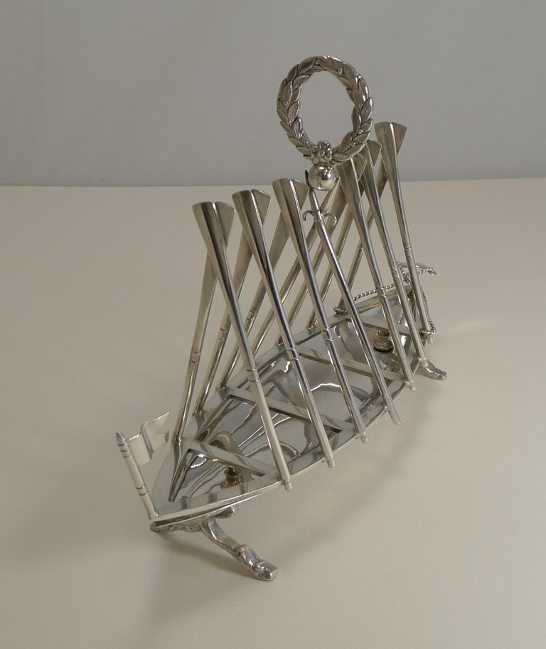 Silver Plate Rare Antique Novelty Toast Rack, Rowing Gig by Benetfink, London, circa 1880 For Sale