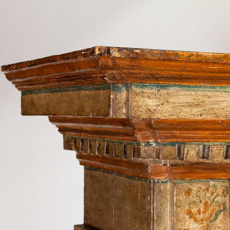 Rare Antique Original Painted Large Bookcase Display Cabinet, Italy Circa 1780-1 For Sale 4