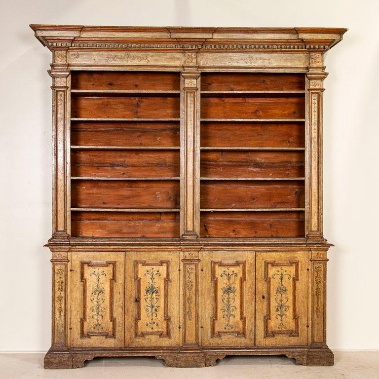 Italian Rare Antique Original Painted Large Bookcase Display Cabinet, Italy Circa 1780-1 For Sale