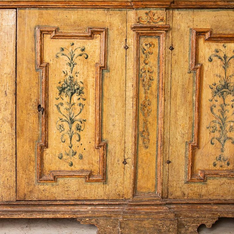 Rare Antique Original Painted Large Bookcase Display Cabinet, Italy Circa 1780-1 For Sale 2