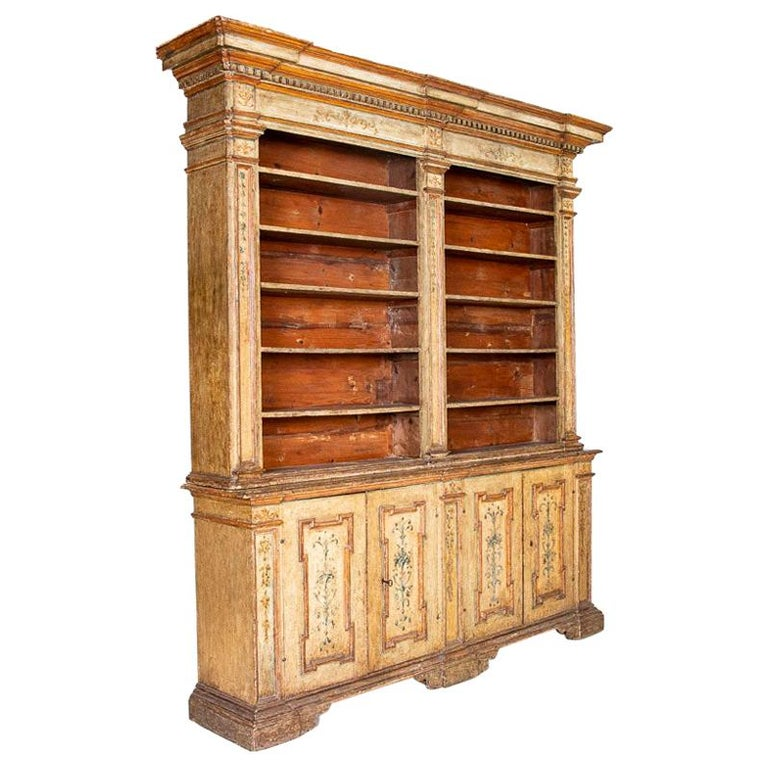 Rare Antique Original Painted Large Bookcase Display Cabinet, Italy Circa 1780-1 For Sale