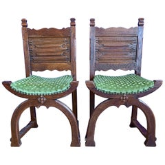 Rare Antique Pair of Gothic Revival and Medieval Style Cloister or Church Chairs