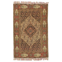 Rare Antique Persian Fine Senneh on Silk Foundation  4'1 x 6'7