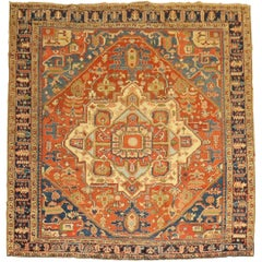 Rare Antique Persian Heriz Square Room Size Rug