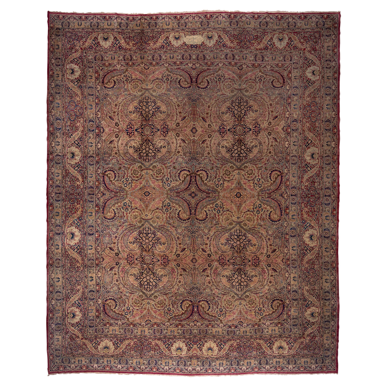 Rare Antique Persian Lavar Kerman Workshop Carpet, Allover Field, Colorful