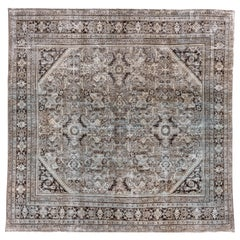 Rare Antique Persian Mahal Rug, Square, Lightly Distressed, Natural Tones