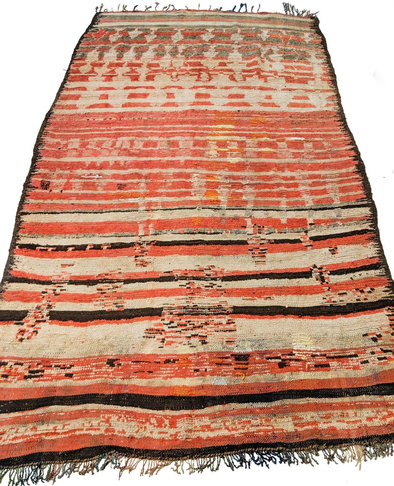 Hand-Knotted Rare Antique Rehamna Moroccan Berber Rug For Sale