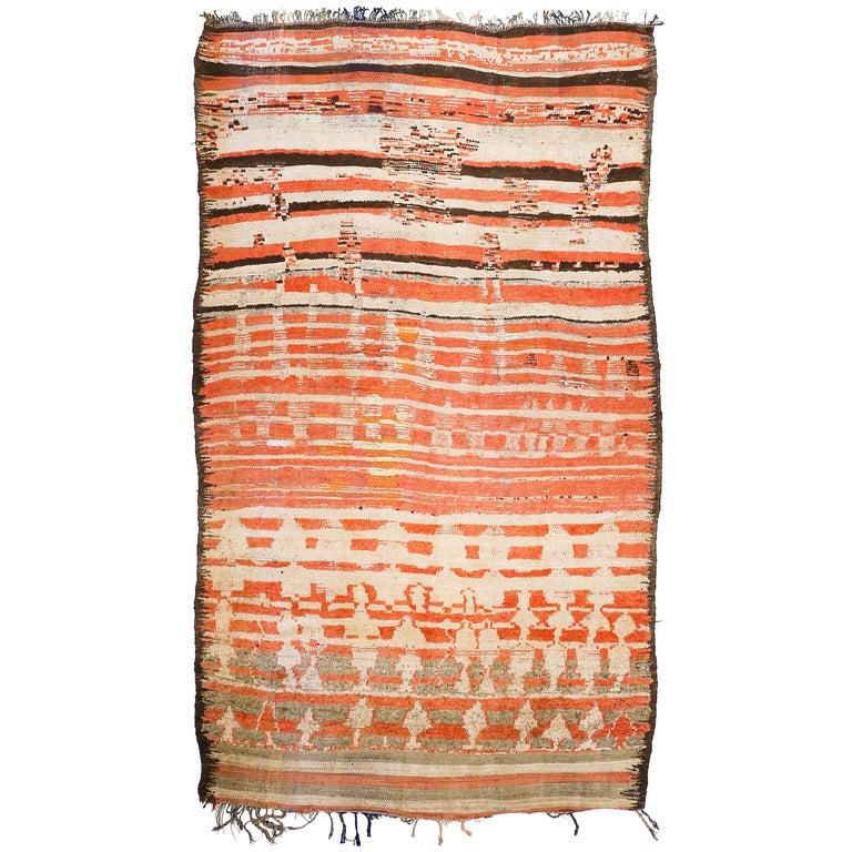 Rare Antique Rehamna Moroccan Berber Rug For Sale