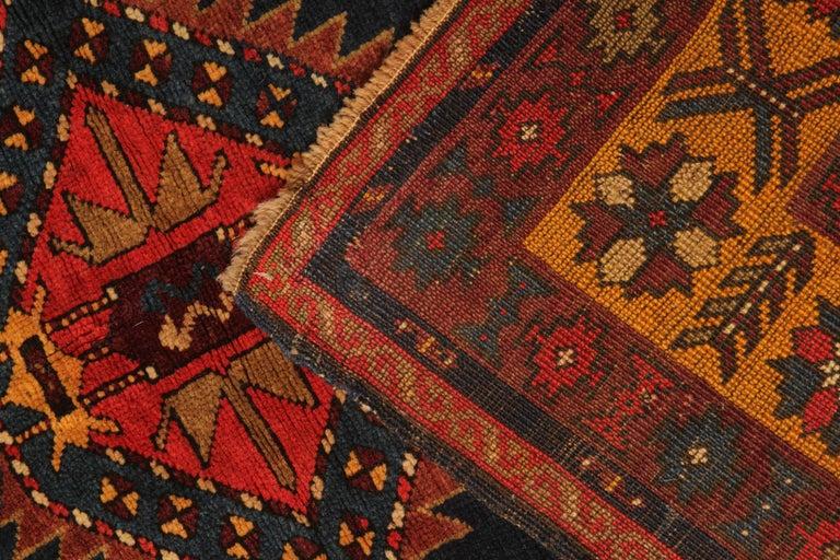 Wool Rare Antique Rug Caucasian Medallion Rug Handmade Carpet from Kazak Area For Sale