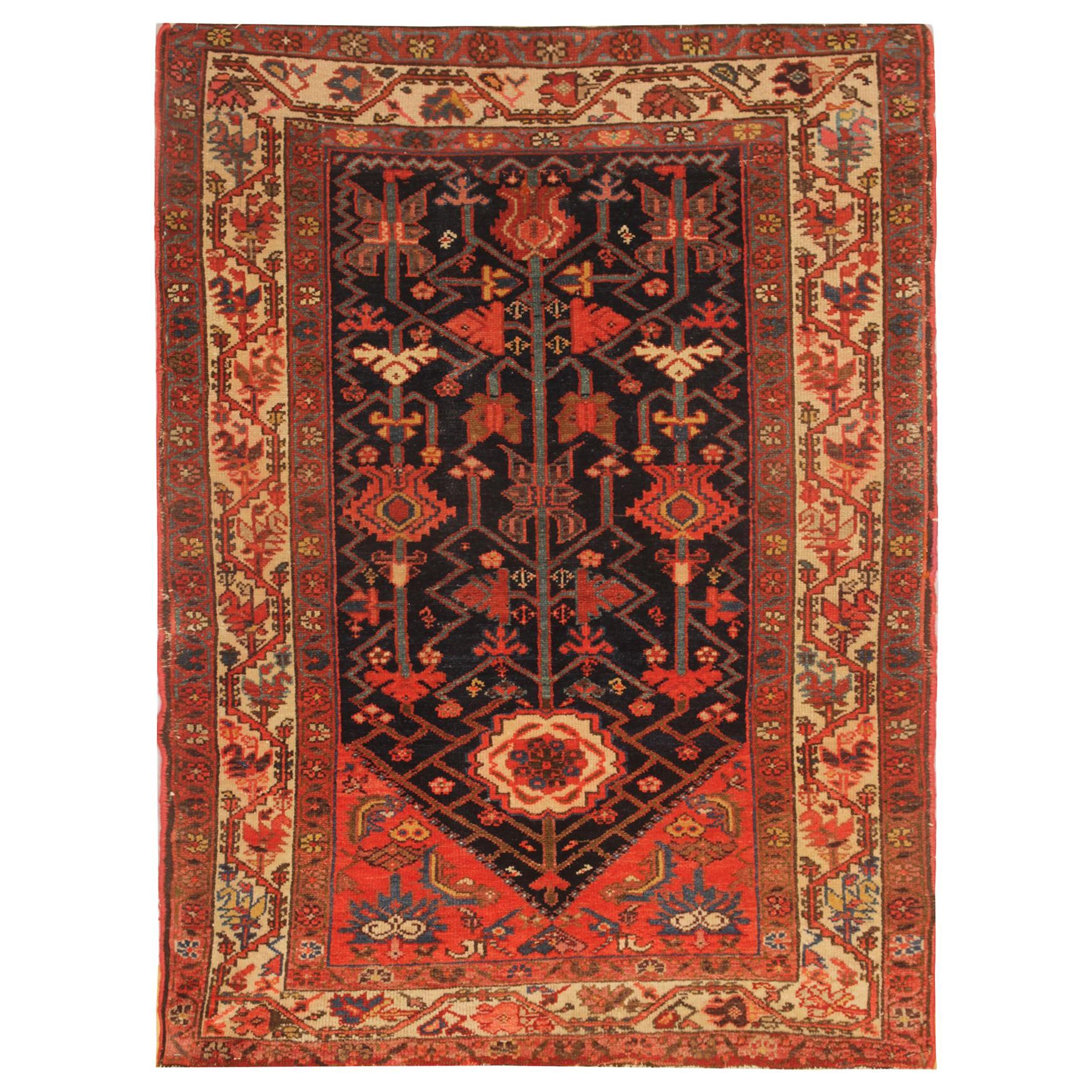 Rare Antique Rug Caucasian Oriental Rug Handmade Carpet Kazak Area Rug for Sale