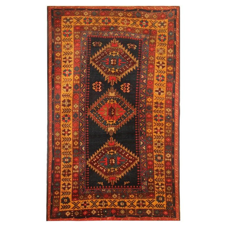 Rare Antique Rug Caucasian Medallion Rug Handmade Carpet from Kazak Area For Sale
