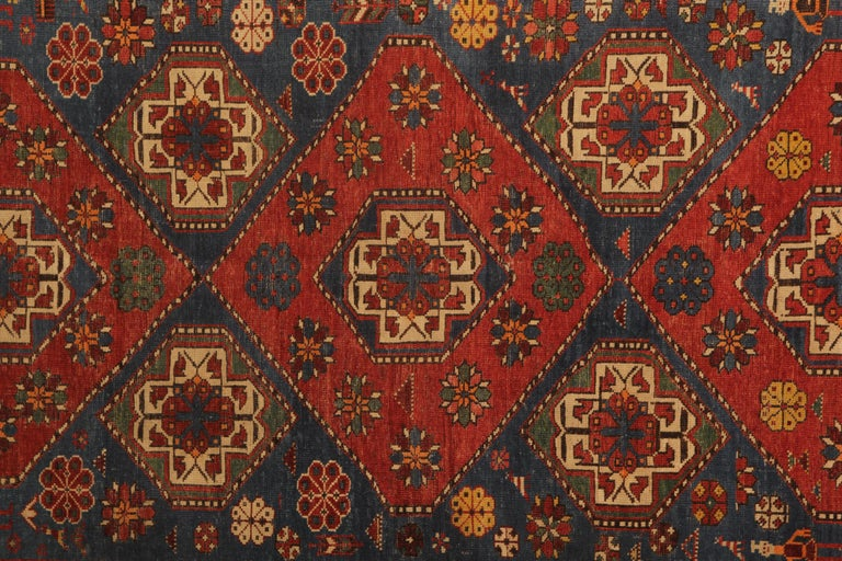 An excellent example of traditional Caucasian carpet rug weaving from the Shirvan region. These Medallion ground design patterned rugs can be best element of home decor objects to give a warmth to environment, because this woven rug has a great