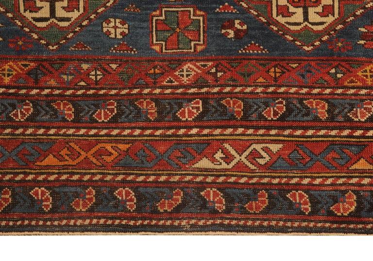 Kazak Rare Antique Rug Caucasian Medallion Rug Handmade Carpet from Shirvan Area For Sale