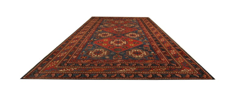 Vegetable Dyed Rare Antique Rug Caucasian Medallion Rug Handmade Carpet from Shirvan Area For Sale