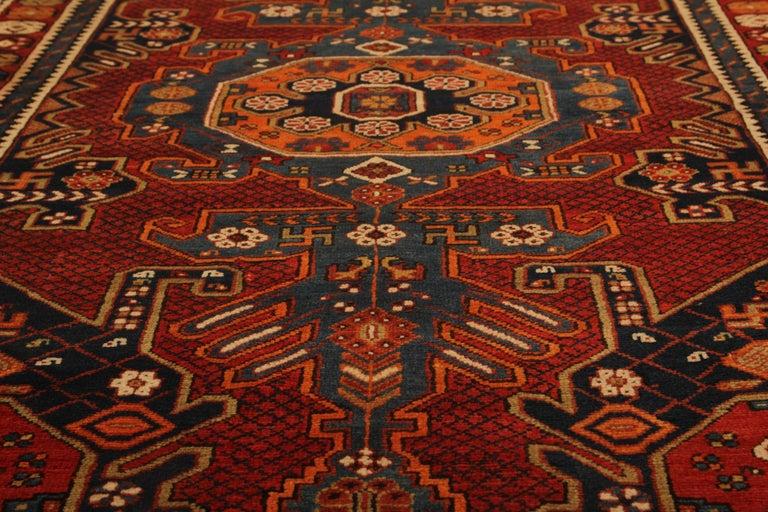 Woven Rare Antique Rug Caucasian Medallion Rug Handmade Carpet from Shirvan Area For Sale