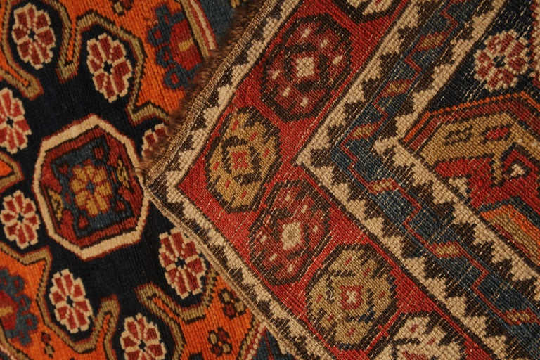 Rare Antique Rug Caucasian Medallion Rug Handmade Carpet from Shirvan Area In Excellent Condition For Sale In Hampshire, SO51 8BY