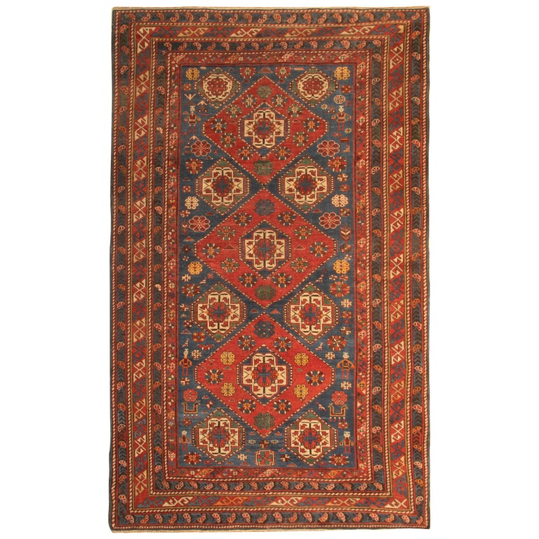 Rare Antique Rug Caucasian Medallion Rug Handmade Carpet from Shirvan Area For Sale