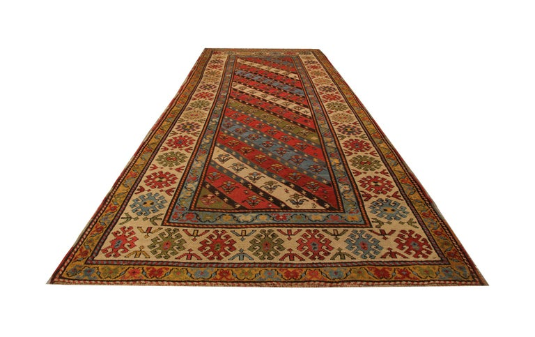An excellent example of traditional Caucasian carpet rug runner weaving from the Shirvan region. these Stripped ground design patterned rugs can be best element of home decor objects to give a warmth to environment, because this woven rug has a